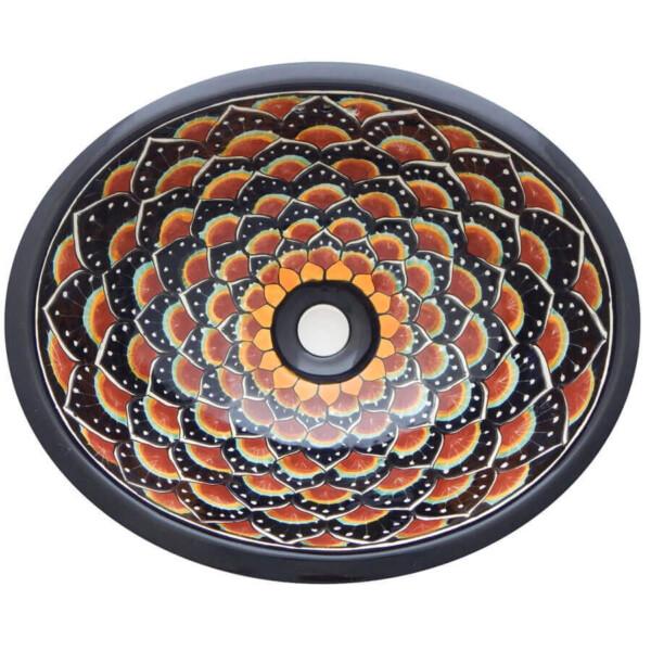 Pavo Black Bathroom Ceramic Oval Talavera Sink