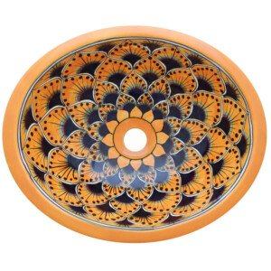 Pavo Yellow Bathroom Ceramic Oval Talavera Sink