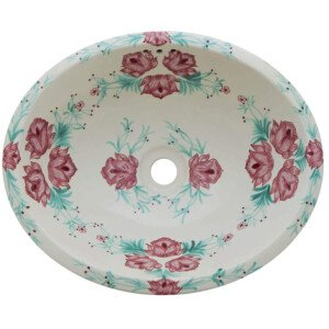 Rosas Bathroom Ceramic Oval Talavera Sink