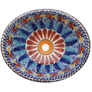 San Blas Bathroom Ceramic Oval Talavera Sink