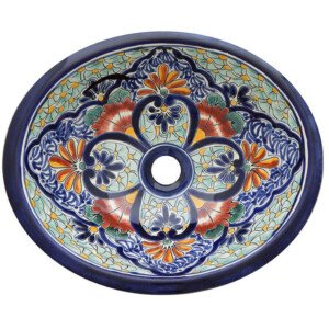 San Mateo Bathroom Ceramic Oval Talavera Sink