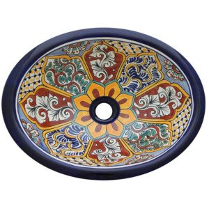 Santa Clara Blue Bathroom Ceramic Oval Talavera Sink
