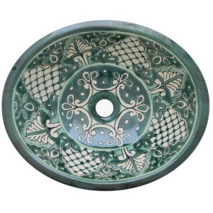 Santa Fe Green Bathroom Ceramic Oval Talavera Sink