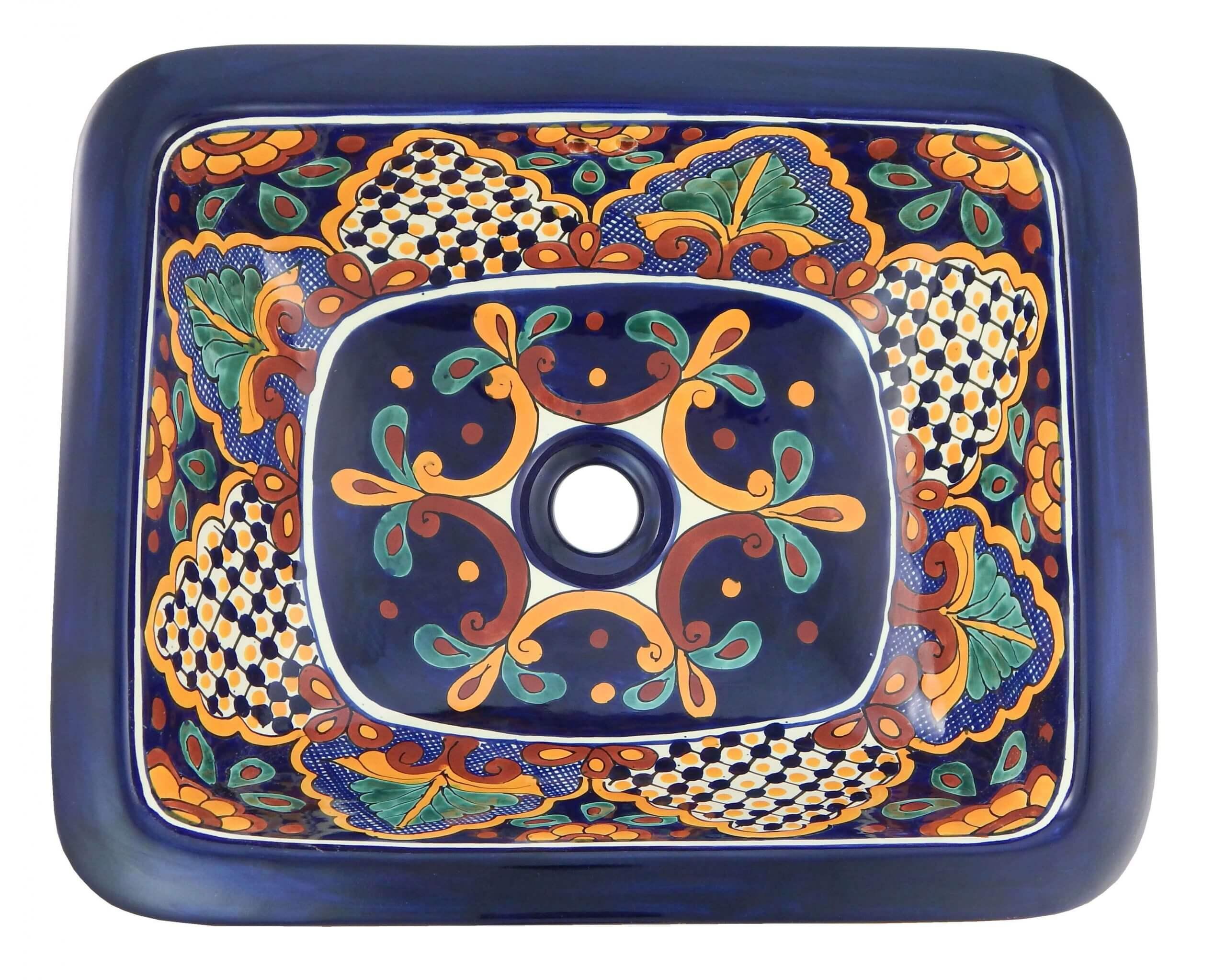 Santa Fe Bathroom Ceramic Oval Talavera Sink