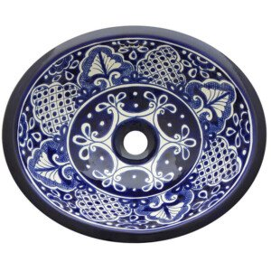 Santa Fe Blue Bathroom Ceramic Oval Talavera Sink