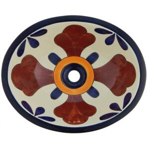 Seville Blue Bathroom Oval Ceramic Sink