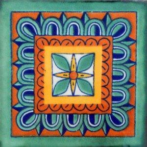 Rosa de los Vientos Verde Mexican Ceramic Talavera Tiles
