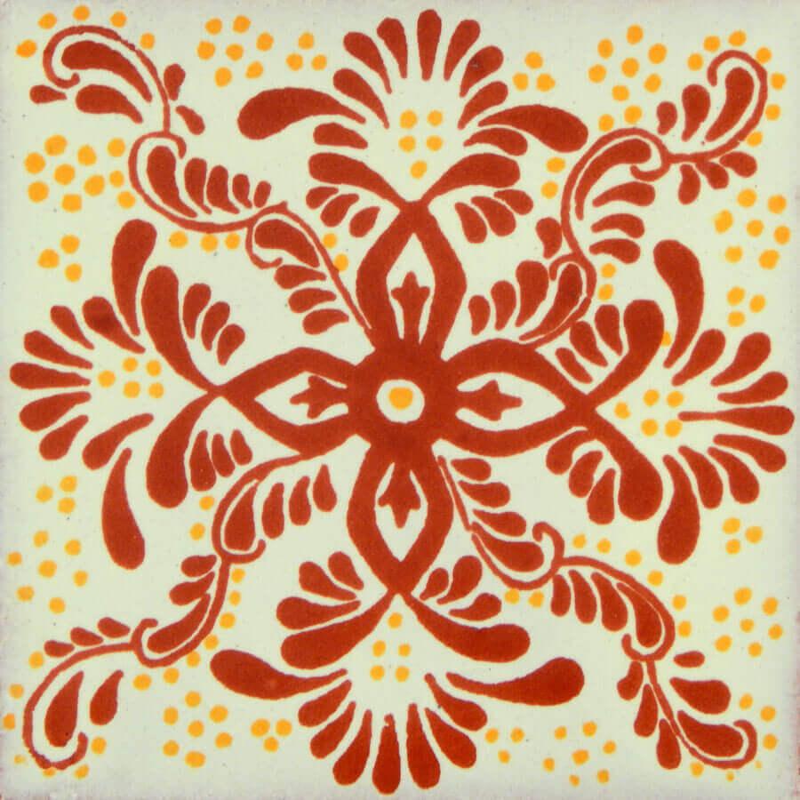 Veronica Terracotta Mexican Talavera Ceramic Tile