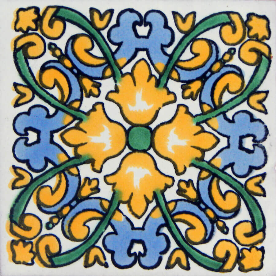 Linaria Yellow Mexican Ceramic Handmade Folk Art Tiles