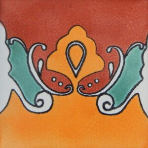 Murcielago Border Mexican Ceramic Handmade Folk Art Tiles