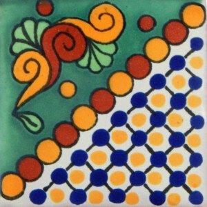 Maya Green Mexican Ceramic Handmade Folk Art Tiles