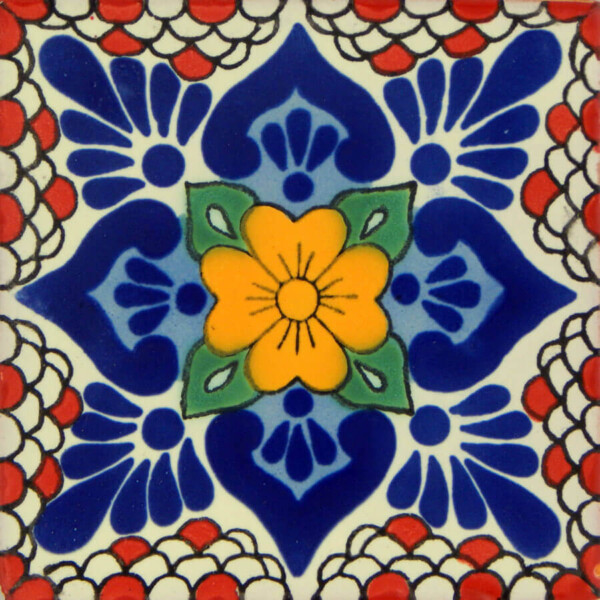 Lluvia 3 Mexican Ceramic Handmade Folk Art Tiles