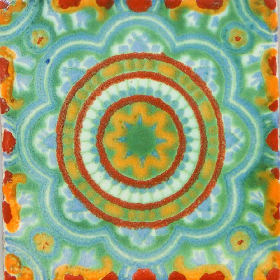 Rosario Green Mexican Ceramic Handmade Folk Art Tiles