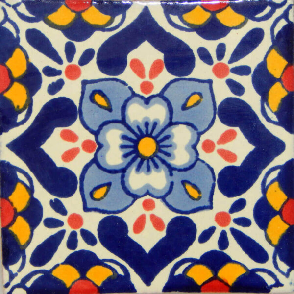 Lluvia 2 Mexican Ceramic Handmade Folk Art Tiles