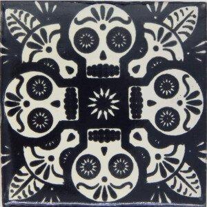 Mexican Ceramic Black Calavera Dia de Los Muertos Tile