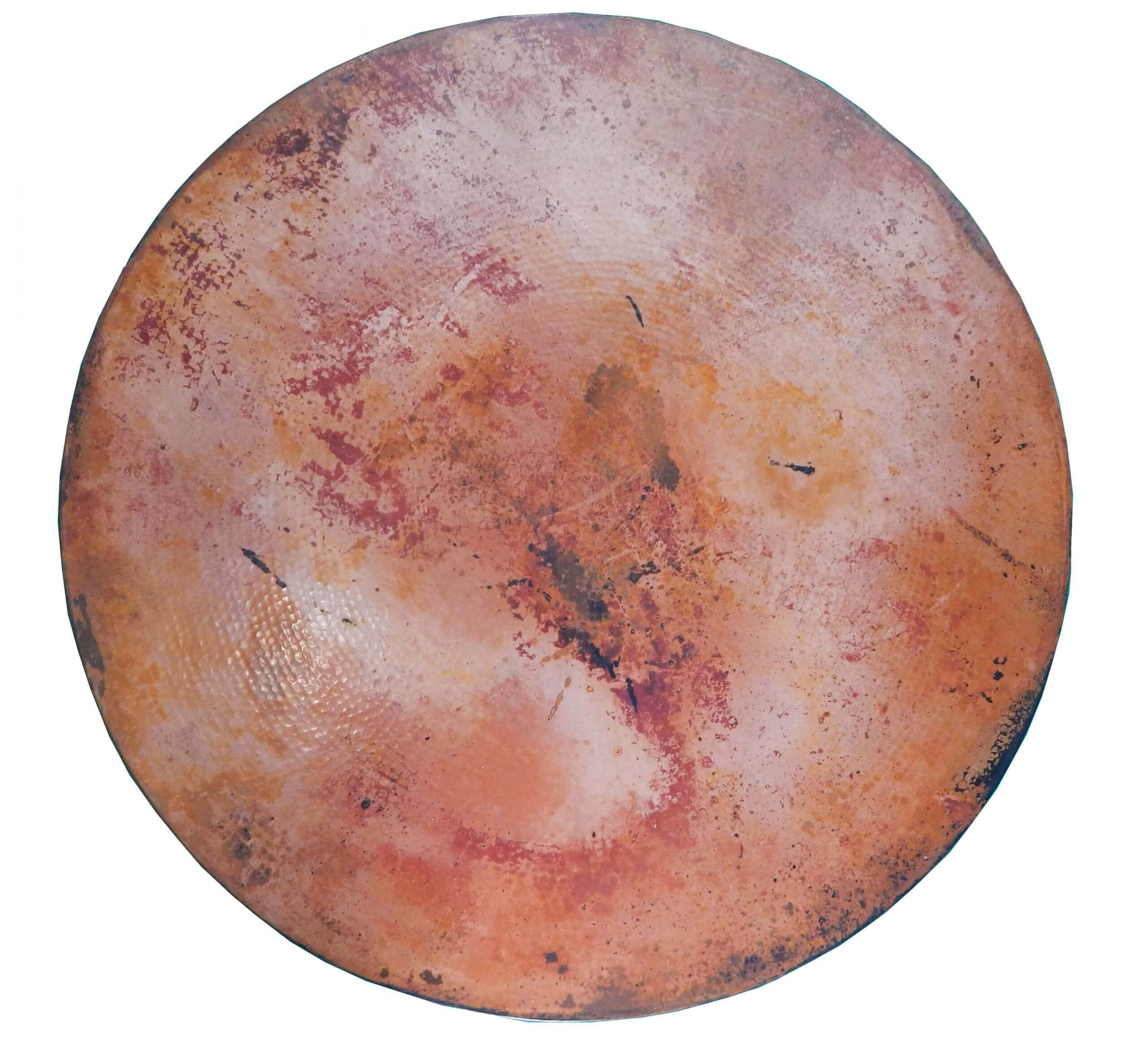 Mexican Round Copper Table Top, Hand Hammered, Natural Patina 54