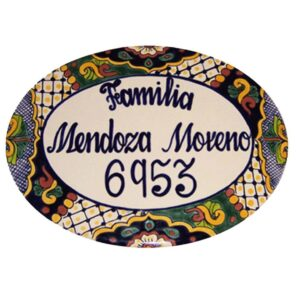 Mexican Ceramic Talavera Custom Wall House Address Plaque 01