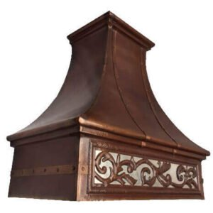 Mexican Copper Range Hood Wall Mount Embossed Leaves Design Brown Patina