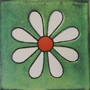 Amapola Green Mexican Ceramic Tile